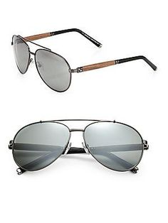 Montblanc 60MM Metal Aviator Sunglasses