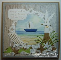 Handmade by Linda: Volg je hart. Nautical Cards, Nautical Theme, Marianne Design Cards, Seaside Theme, Beach Cards, Up Book, Shaker Cards, Beach Scenes, Vintage Cards