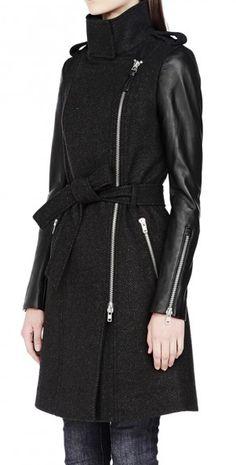 Leather sleeves coat