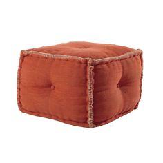 MADRAS cotton pouffe in orange