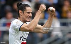 Edinson Cavani of PSG celebrates scoring his team's first goal during the French Ligue 1 match between FC Sochaux Montbeliard and Paris Saint-Germain FC at Stade Bonal on April 27, 2014 in Sochaux, France.