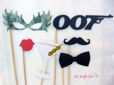 Photobooth Prop Double Agents by livelaughlovelots on Etsy, $27.00 ... I need to get these!