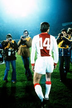 Johan Cruyff at his Ajax farewell match, November 1978. Johan Cruyff, born 25 April 1947, Dutch international attacking midfielder or forward (1966–1977), Ajax (1964-1973), FC Barcelona (1973-1978), Los Angeles Aztecs (1979-1980), Washington Diplomats (1980-1981), Levante (1981), Ajax (1981–1983), Feyenoord (1983-1984).