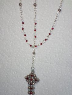 Silver Wire Rosary with January Birthstone and by MindForBeads