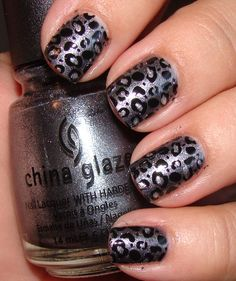 Black and silver leopard nails Need this paint job on a glock.