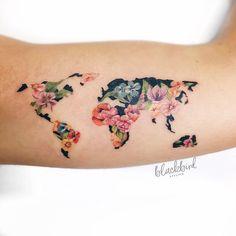 Flower world map by @luiza.blackbird · Blackbird Atelier, Belo Horizonte