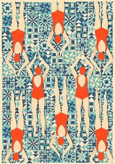 Art Deco Print // Swimmers print // Papercut Print £36 by Lou Tayylor Papercuts on Etsy UK #SmallBizSatUK