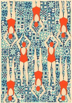 Art Deco imprimer / Print nageurs / / Print par loutaylorpapercuts                                                                                                                                                                                 More