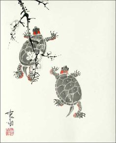 The exciting mating rituals of turtles, Sumi-e