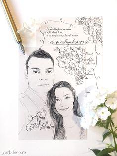 Unique wedding invitations with fine art portrait of bride and groom and sakura flowers. Portret în creion pentru o invitație de primăvară cu flori de cireș. Art, Craft Art, Kunst, Gcse Art, Art Education Resources