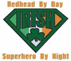 Irish Superhero Embroidery Design from Bella Mia Designs Machine Embroidery Designs, Irish, Stitch, Superhero, Comics, Day, Full Stop, Irish Language, Stitching