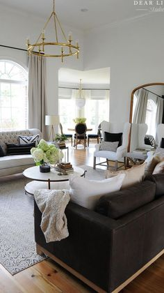 Black And White Living Room, Living Room Orange, Boho Living Room, Living Room Interior, Living Room Decor, Living Spaces, Black Living Room Furniture, Fall Living Room, Living Room Lighting