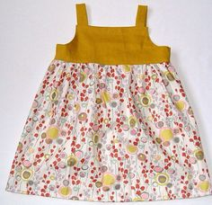 Mustard and pastel floral tank dress 1218mos by LoveyLake on Etsy
