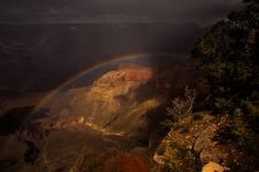 https://flic.kr/p/BAX4xM | Rainbow in Grand Canyon | The sun peak throught the stormy could just a brief moment.  A beautiful rainbow appeared in the canyon.