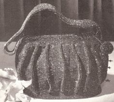 Vintage Crochet PATTERN to make - Beaded Evening Bag Purse Handbag Retro. NOT a finished item. This is a pattern and/or instructions to make the item only. $7.00