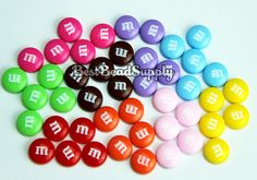 45 pcs 14mm Resin M Candy Chocolate Cabochon Beads Kawaii Deco Den Scrapbook on Etsy, $2.89