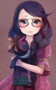 Gorgeous Little Girl With Glasses ღ☀ Pretty Illustration ღ☀ Lovely Combination Of Colours