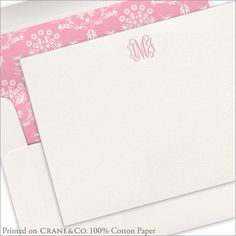 Letterpress Script Monogram Flat Notecards