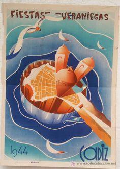 CARTEL FERIA FIESTAS, CADIZ 1944 , LITOGRAFIA , ILUSTRADOR CARPAS (Papel - Carteles Gran Formato - Carteles Ferias, Fiestas y Festejos)