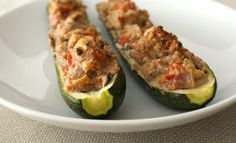Zucchini Boats with mushrooms, turkey sausage and fresh herbs