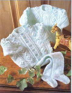 Baby Knitting Pattern - DK Aran Cardigan, Sweater and leggings - 16 - 22 in chest PDF
