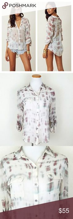 Gypsy 05 Sheer Tie Dye Button Down Gypsy 05 Sheer Tie Dye Button Down. Collar. Breast pockets. Curved hem. Silk. EUC  Bust 20in (flat) Length 25/29  No trade or P.P. Reasonable offers considered Bundle discounts Gypsy 05 Tops Button Down Shirts