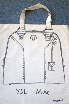 T BAG, YSL Muse - hand drawn tote