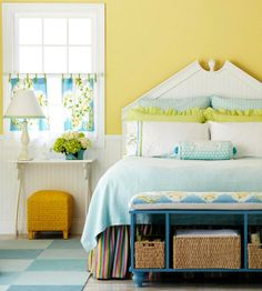 Paint Color Portfolio: Sunny Yellow Bedrooms. Apartment therapy. Love the yellow, blue, & green.