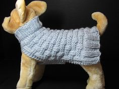 Small dog sweaters generally fit dogs that weigh between 4 and 7 pounds. This sweater has a back measurement of 12, circumference (around the middle of the dog behind the front legs) between 11-13, and a neck measurement between 9-11.