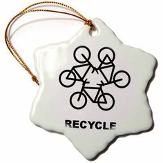 3dRose Recycle Emblem From Bicycles, Snowflake Ornament, Porcelain, 3-inch