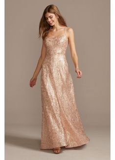 Floral Corded Lace Sequin Gown with Lace-Up Back M198128
