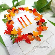 Festive Wreath Slider Card Tutorial with the Spellbinders Large Die of the Month Club Kit Cards Slider Cards, Leaf Cards, Spellbinders Cards, Embossing Machine, Interactive Cards, Thanksgiving Cards, Fall Cards, Hero Arts, Card Tags