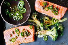 Roast Salmon and Broccoli with Chile-Caper Vinaigrette  http://www.bonappetit.com/recipe/roast-salmon-and-broccoli-with-chile-caper-vinaigrette