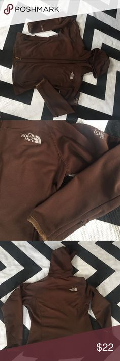 """Brown north face jacket with hood size xs Flight series north face jacket, this jacket is in okay-fair condition, I say that due to pilling and a few """"picks"""" ( see photos) ol there are no stains or holes, smoke free/pet free home North Face Jackets & Coats"""
