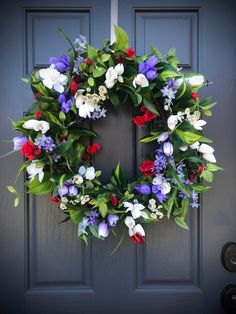 Spring Wreath Purple Red White Wreaths Door Wreath Spring Decorating Mothers Day Gift Housewarming G Tulip Wreath, White Wreath, Diy Wreath, Grapevine Wreath, Floral Wreath, Wreath Ideas, Spring Door Wreaths, Wreaths For Front Door, Front Doors
