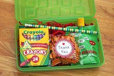 cute idea for BTS party favor - snack bag, crayons, apple sauce pouch & pencil.