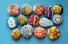 15 Coolest Nature Crafts for Kids. Cute painted rock owls and critters