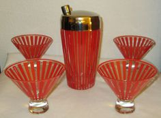 Vintage MID CENTURY MODERN RETRO RED STRIPE MARTINI COCKTAIL SHAKER & GLASSES
