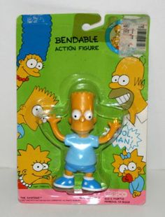 "1990 Jesco Bart Simpson 4 1 2"" Bendable Action Figure in Original Package 