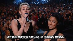 Pin for Later: The 24 Grammys Moments Everyone's Still Talking About Miley Cyrus and Nicki Minaj Called Madonna Their B*tch