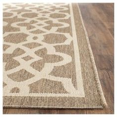 "Sarthe Rectangle 6'7"" X 9'6"" Outdoor Patio Rug - Mocha / Beige - Safavieh, Brown"