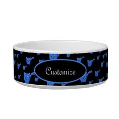 Shop Black & Blue Kitty Pattern Pet Bowl created by thepawkinglot. Diy Cat Toys, Creature Comforts, 4th Of July Party, Pet Bowls, Succulents Diy, Ceramic Bowls, Pet Shop, Cats And Kittens, Keep It Cleaner
