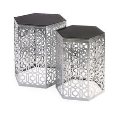 Nikki Chu Lancaster Silver Mirror Table - Set of 2 - With an airy, open-work pattern befitting the famed Alhambra palace, this pair of iron accent tables with mirrored tops are finished in silver for a timeless look designed to be a classic.