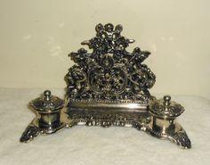 Vintage Decorative Footed Cast Metal Desk Top Holder w Ink