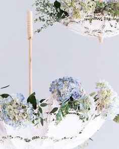 Hanging lace umbrella upside down and decorating with hydrangeas is great idea for vintage/classic wedding decoration. Credit: weddingstar.com.au #hydrangea #weddingflowers #weddingflorals #creative #idea #weddingtips