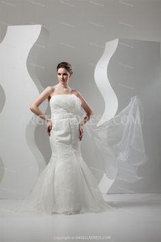 Mermaid/Trumpet Strapless Court Train Satin Wedding Dress WD010997