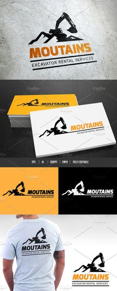 Mountains Excavator by Super Pig Shop on @creativemarket