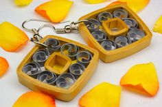 Paper quilled earrings golden square danglers lightweight and attractive