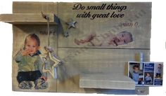 Wandbord steigerhout inclusief persoonlijke foto's en accessoir