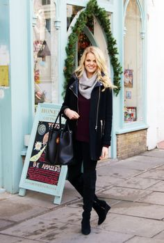 Grey Snood, leggings and burgundy knit #casual #winter #fashion